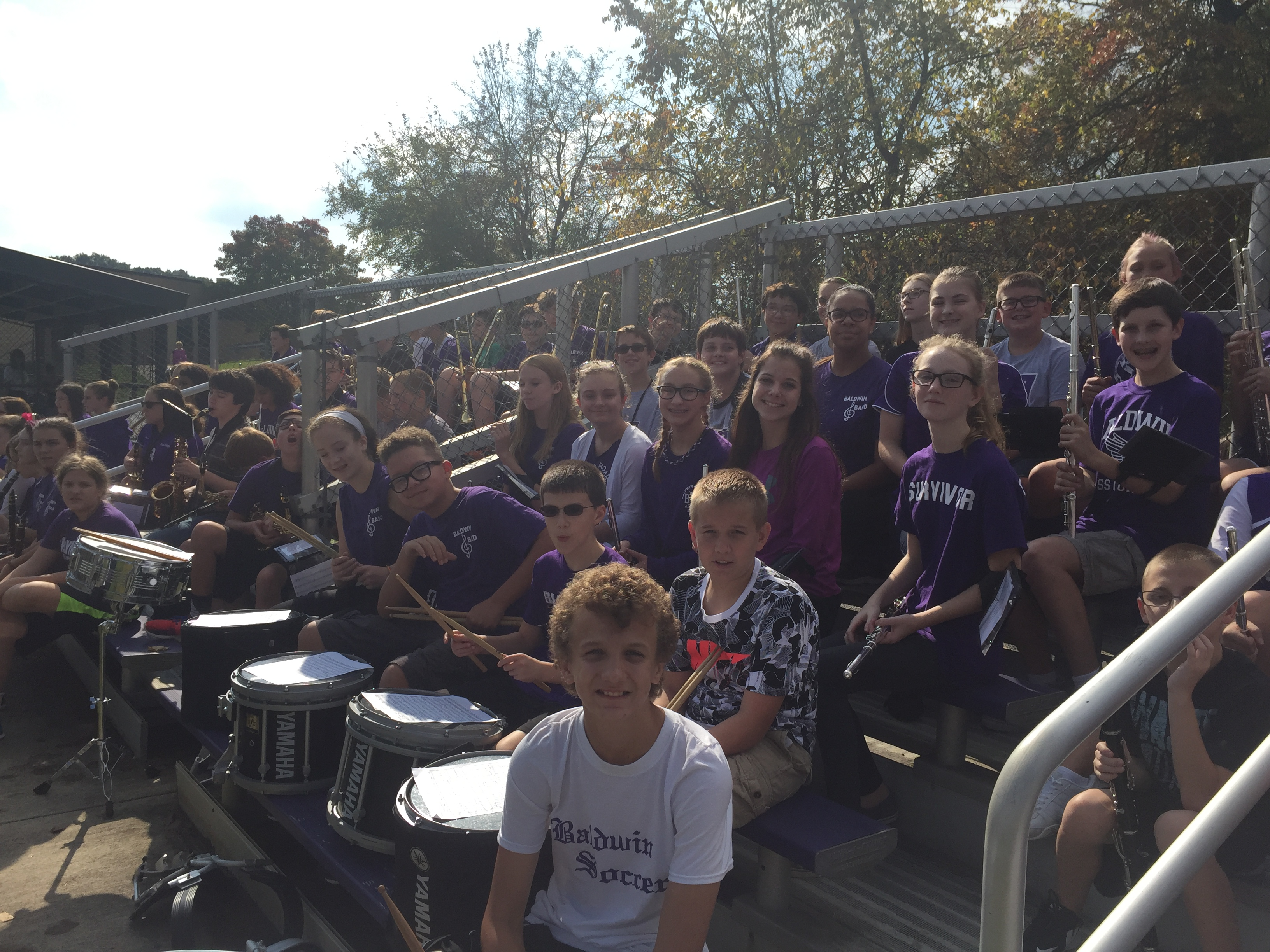 HMS band getting ready for the pep rally.